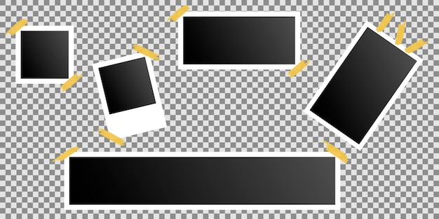 Satz von fotorahmen auf klebeband auf transparent geklebt