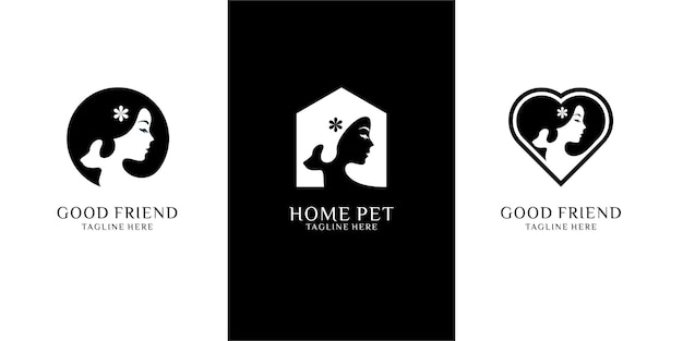 Satz von frauen, die hunde umarmen, minimalistische logo-design-vorlage. negativer weltraum logo stil premium-vektor