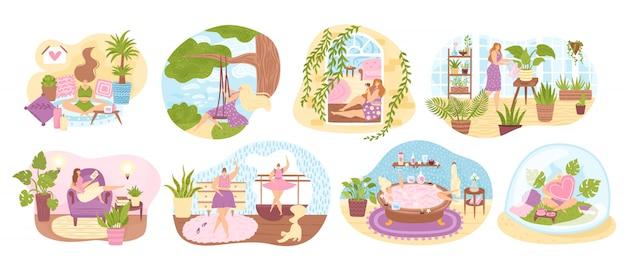 Satz von frauen, die ihre freizeit genießen, freizeitaktivitäten durchführen und hobbys illustration tun. frau, die tanzt, hausgarten kultiviert, meditiert, badet, buch liest.