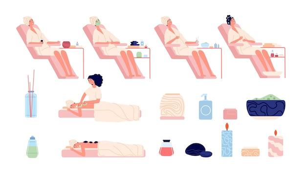 Satz von frauen in massage wellness für gesundheit und schönheit