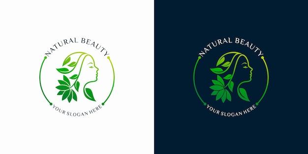 Satz von frauen natürliche schönheit abstraktes logo mit linie kunststil logo. spa-therapie-logo-konzept. premium-vektor