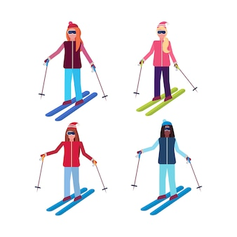 Satz von frauen skifahren