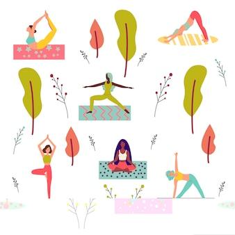 Satz von frauencharakteren, die yoga flache vektorillustration praktizieren, isoliert