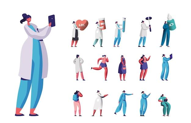 Satz von frauenmediziner oder krankenschwester mit smartphone, herz und pillen, glaskolben, augentropfen. sport und reisen