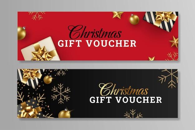 Satz von frohe weihnachten-geschenkgutschein-design-vorlage