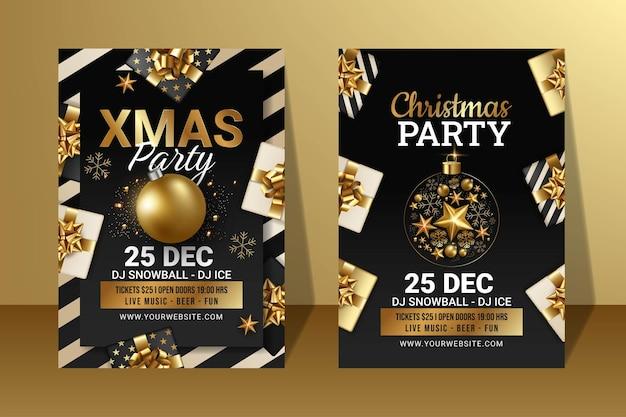 Satz von frohe weihnachten-party-flyer oder poster-vorlagen-design