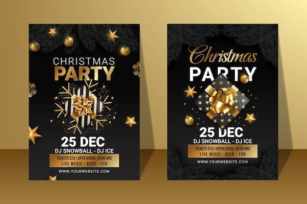 Satz von frohe weihnachten-party-plakat-design-illustration