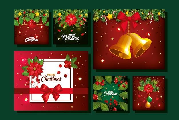 Satz von frohe weihnachten poster mit dekoration