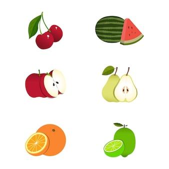 Satz von früchten und beeren