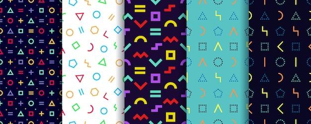 Satz von fünf nahtlosen memphis-mustern. geometrische formen texturen. . geschenkpapier .