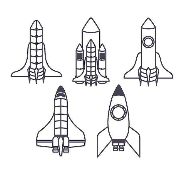 Satz von fünf raumschiff-symbolen