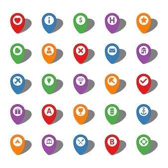 Satz von fünfundzwanzig bunten kartenzeigern mit verschiedenen symbolen im weißen kreis und mit schatten. vektor-illustration