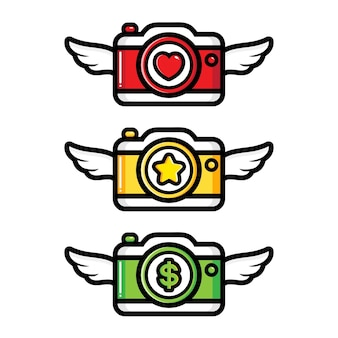 Satz von geflügelten kamera vektor-design