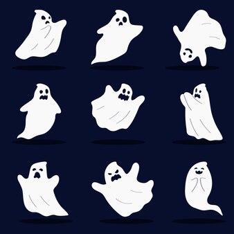 Satz von geistern isoliert auf einem dunklen hintergrund halloween-zeichen vector illustration im flachen stil