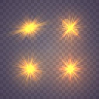 Satz von gelbgold leuchtendem licht explodiert auf einem transparenten hintergrund. funkelnde magische staubpartikel. heller stern transparent strahlende sonne, heller blitz. mit staub platzen und funkeln isoliert.