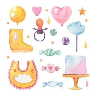 Satz von gemalten chuva de amor-dekorationselementen