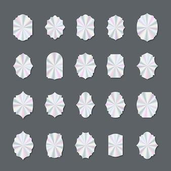 Satz von geometrischen hologramm-etiketten vektor flache illustration vektorelement für produktgarantie