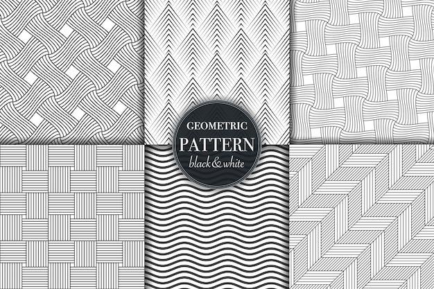 Satz von geometrischen und abstrakten linienmustern des schwarzweiss