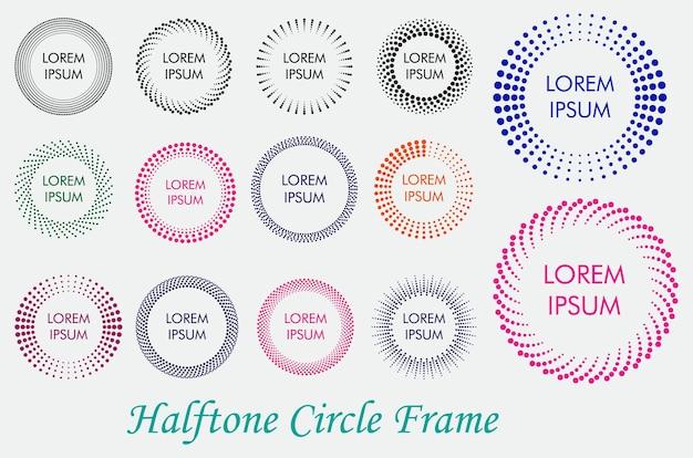 Satz von gepunkteten halbtonmustern oder farbigen halbtonpunktmustern oder gradienten glatter punkthalbtonkonz