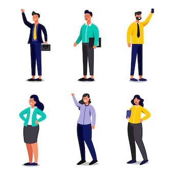 Satz von geschäftsarbeitern in karikaturfiguren mit unterschiedlicher geste, isolierte flache illustration