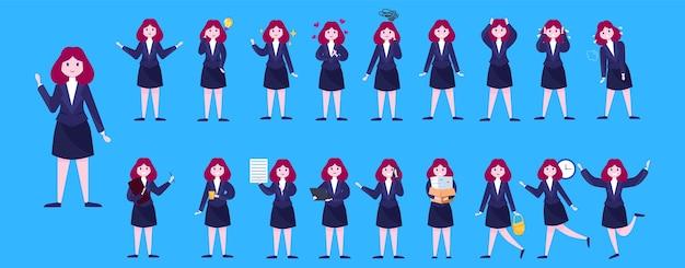 Satz von geschäftsfrauen- oder büroangestelltencharakter mit verschiedenen posen, gesichtemotionen und gesten. am telefon sprechen, arbeiten und präsentationen machen. illustration