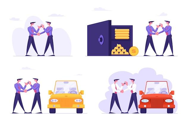 Satz von geschäftsleuten car-sharing-service
