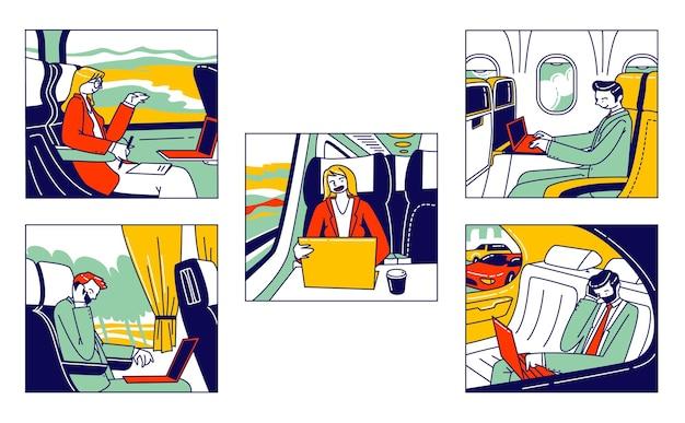 Satz von geschäftsleuten, die mit verschiedenen transportbussen, flugzeugen und luxusautos zur geschäftsreise fahren. menschen arbeiten am laptop und sprechen während des transports mobil. lineare vektorillustration
