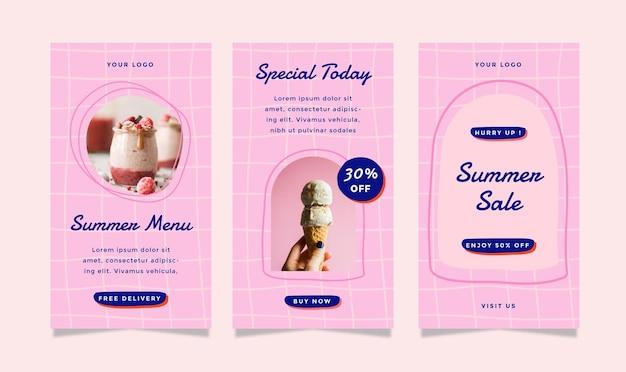 Satz von geschichten-flyer mit sommer-food-thema für soziale medien.