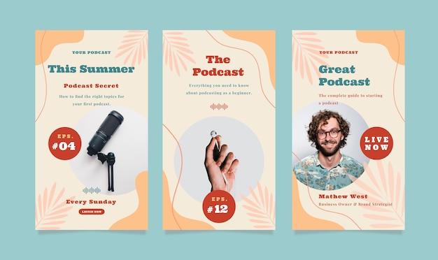 Satz von geschichten-flyern mit sommer-podcast-thema für soziale medien.