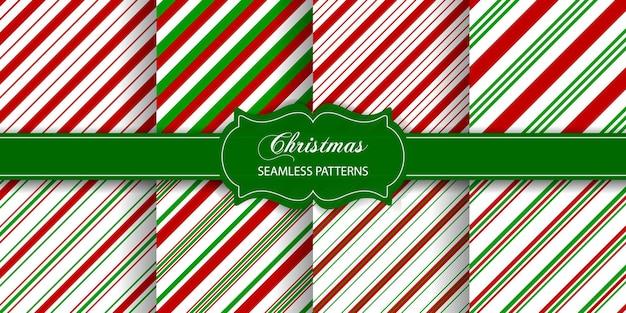 Satz von gestreiften nahtlosen texturen weihnachtszuckerstangenmuster