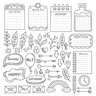 Satz von gezeichneten bullet journal essentials