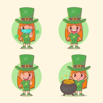 Satz von glücklichen kindern mädchen st. patrick's day charakter mit vielen gestenausdrücken.