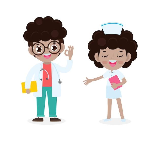 Satz von glücklichen niedlichen amerikanischen afrikanischen doktor und krankenschwester