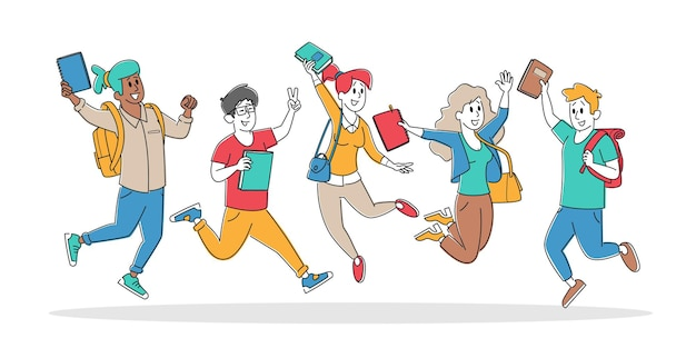 Satz von glücklichen studentencharakteren, die mit rucksäcken und lehrbüchern springen
