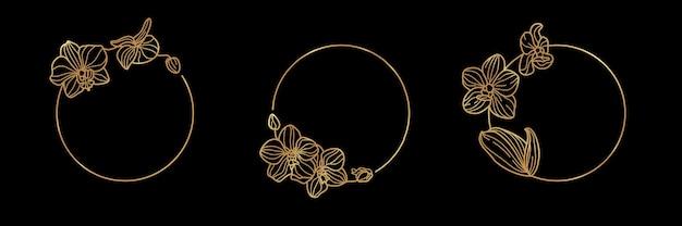 Satz von gold-rundrahmen-vorlage orchideenblüte und monogramm-konzept im minimalen linearen stil. vektorblumenlogo mit kopienraum für buchstaben oder text. emblem für kosmetik, medikamente, mode, beauty