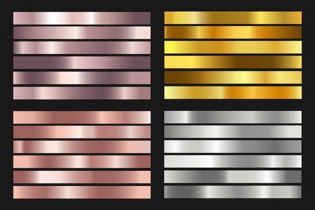 Satz von gold-, silber-, bronze- und roségoldfolien-texturhintergründen.