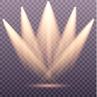 Satz von goldenen scheinwerfern isoliert gelbe warme lichter vektor-illustration lichteffekt satz von vektor-isolierten scheinwerfern bühnenlicht auf transparentem hintergrund szenenbeleuchtung sammlung