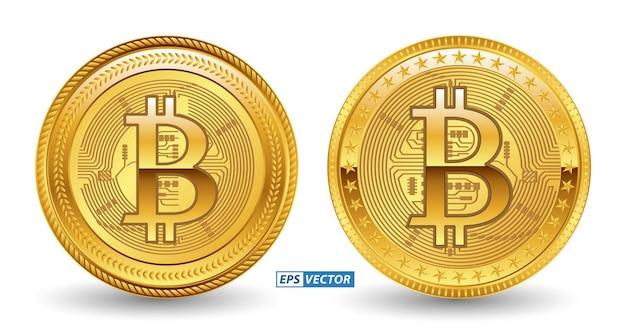Satz von goldener oder digitaler bitcoin-währung der kryptowährung oder digitaler zahlungswährung