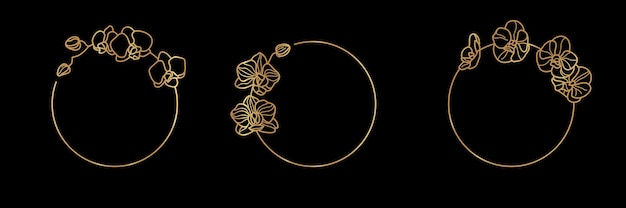 Satz von goldrahmenschablone orchideenblume und monogrammkonzept im minimalen linearen stil. vektorblumenlogo mit kopienraum für buchstaben oder text. stempel für kosmetik, medikamente, lebensmittel, mode, beauty