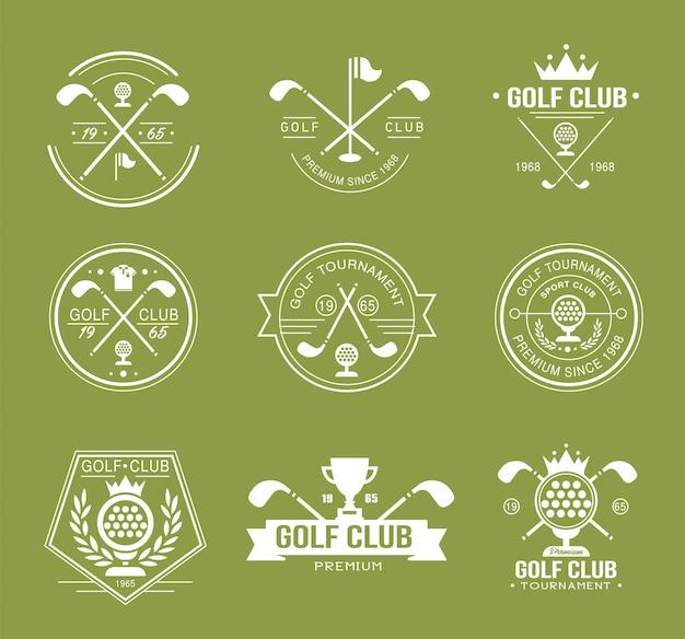 Satz von golfschlägerlogos, -etiketten und -emblemen