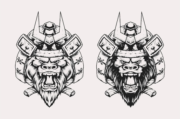 Satz von gorilla-kopf mit samurai-kabuto-helm-vektor-illustration im vintage-monochrom-stil. geeignet für t-shirts, drucke, logos und andere bekleidungsprodukte