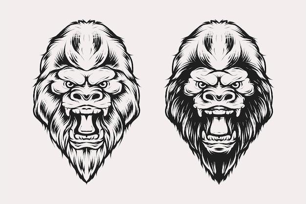 Satz von gorilla-kopf-vektor-illustration im vintage-monochrom-stil. geeignet für t-shirts, drucke, logos und andere bekleidungsprodukte
