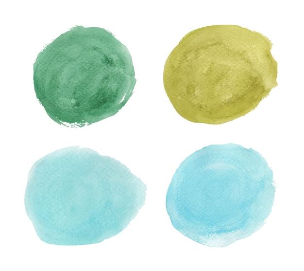 Satz von grün und blau. runde aquarellspritzer. kreiselemente