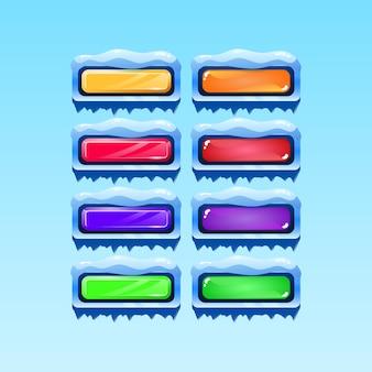 Satz von gui winter weihnachten button symbol für spiel ui asset elemente Premium Vektoren