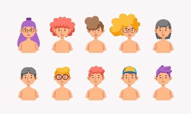 Satz von halbkörperfiguren, jungen und mädchen mit verschiedenen frisuren und farben, die für den avatar verwendet werden