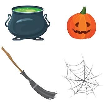 Satz von halloween-attributen. trankkessel, kürbis mit fröhlichem gesicht, hexenbesen und spinnennetz.