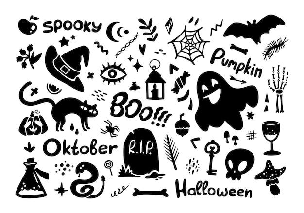 Satz von halloween-elementen schwarze silhouette sammlung lustige illustration isoliert auf weiß