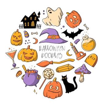 Satz von halloween handgezeichneten kritzeleien