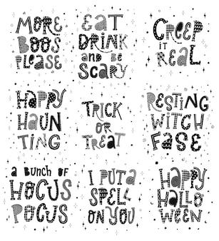 Satz von halloween-schriftzugzitaten