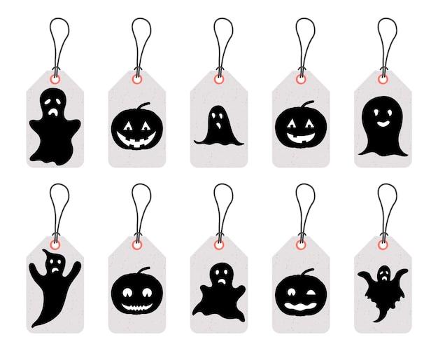 Satz von halloween-tags für urlaubsartikel auf weißem hintergrund. cartoon-stil. vektor.